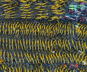 aerial photography, aerial view, and bicycles image