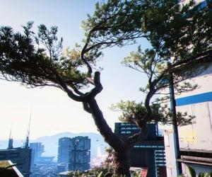 blue sky, city, and cyberpunk image