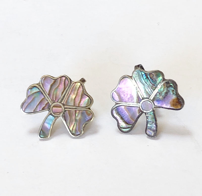 screw back earrings, sterling silver, and four leaf clover earrings image