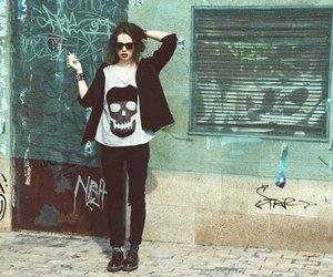 girl, skull, and street image