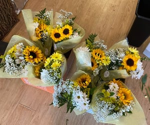 happy, sunflowers, and bouquet image