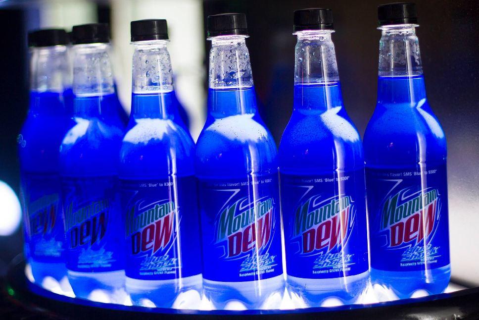Bottled, blue, and mtn dew image