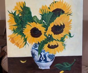 art, green, and sunflowers image