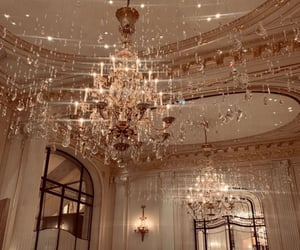 chandelier, aesthetics, and gold image
