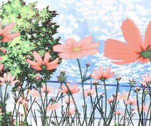 anime, sky, and flower image
