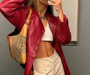 red leather jacket, everyday look, and summer spring image