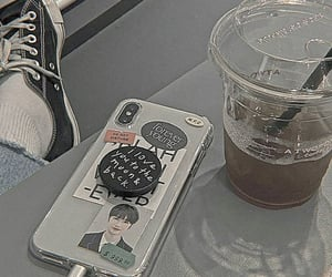 coffee, phone case, and city aesthetic image