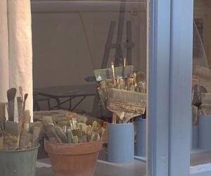 window, paintbrush, and art hoe image