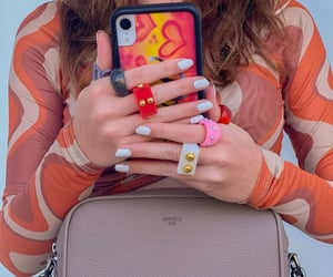 accessories, white nails, and beige bag purse image