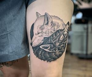 tattoo, wolf tattoo, and tattoo design image