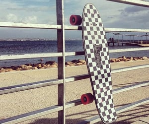 checkered, skate, and beach image
