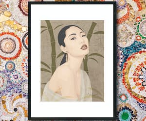 art print, asian woman, and abstract wall print image