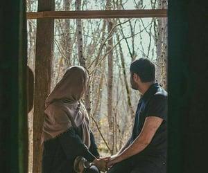 couple, window, and hijab image