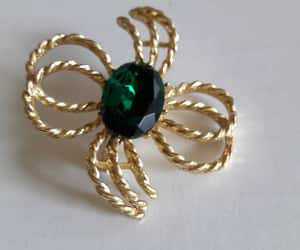 gold tone, green stone, and mother's day gift image
