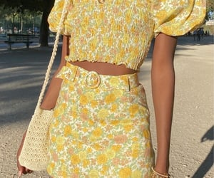 clothes, yellow, and dress image