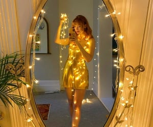 christmas lights, gold, and mirror image