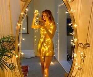 christmas lights, golden, and selfie image