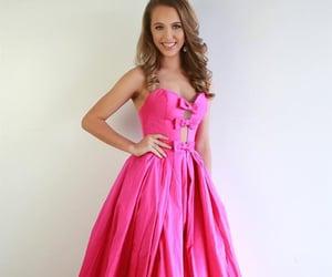 beauty, grad dress, and hot pink dresses image