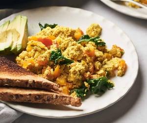 tofu scramble, vegan, and avocado image