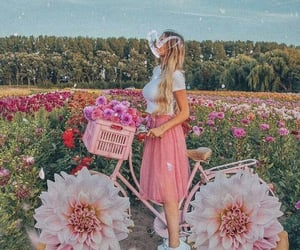 bicycle, flowers, and girls image