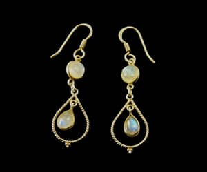 etsy, rainbow moonstone, and dangle earrings image