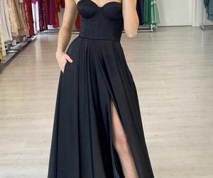 black dress, dresses, and formal dress image