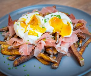 potato chips, fries, and ham image