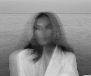 b&w, girl, and sea image