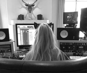 aesthetic, black and white, and ariana image