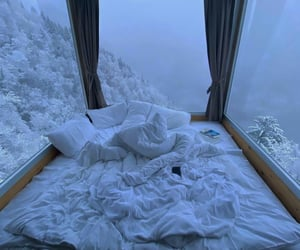 bed, snow, and bedroom image