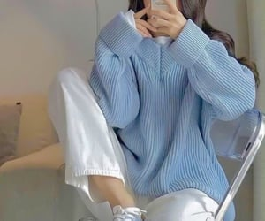 baby blue, casual, and korean image