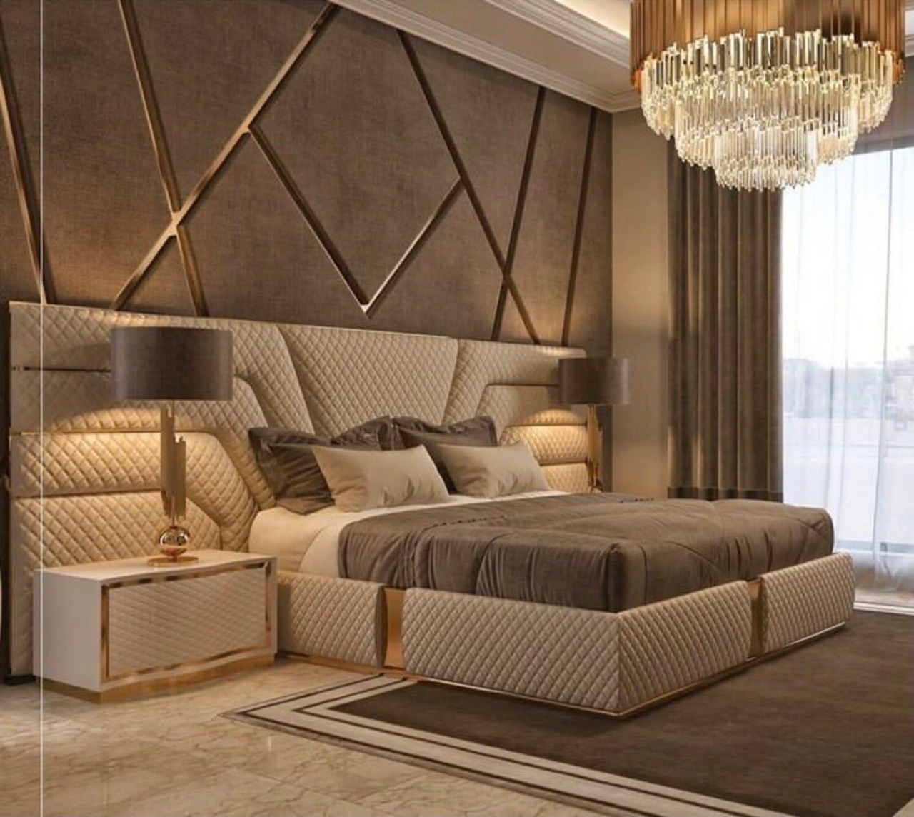 bed, beige, and brown image