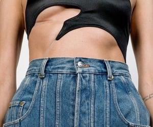 black top, blue jeans, and denim image