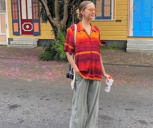 button up shirt, red orange, and street style image