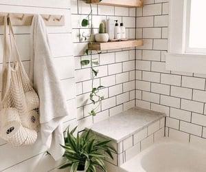 bathroom, plants, and minimalist image