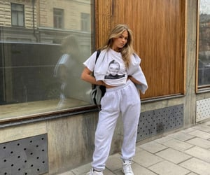 street style, grey sweater, and white tee shirt image