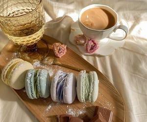 chocolate, coffee, and macarons image