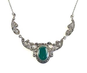 Vintage Chrysoprase Sterling Silver Necklace Antique Marcasite image 0