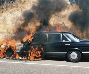 car, fire, and flames image