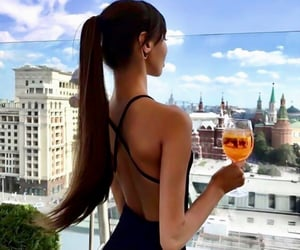 brunette, drinks, and travel image