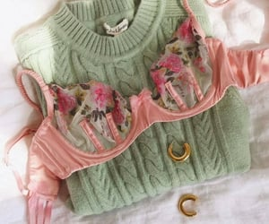 bra, gold, and sweater image
