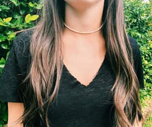 brunette, choker, and Hot image