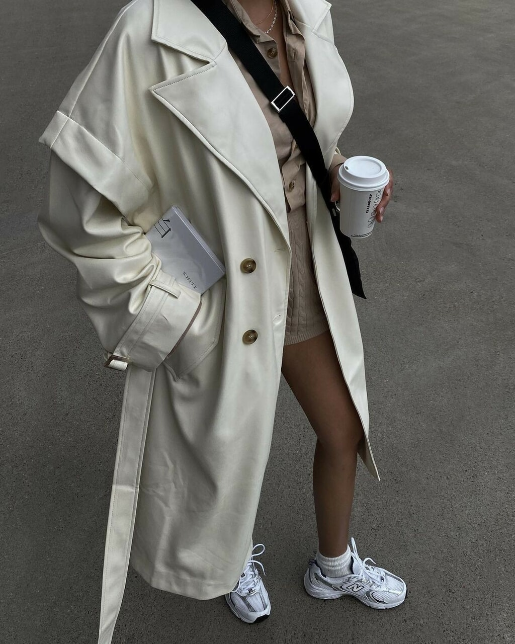 coffee, outfit, and oversized trench coat image