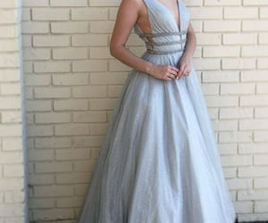 evening dress, girl, and silver prom dress image