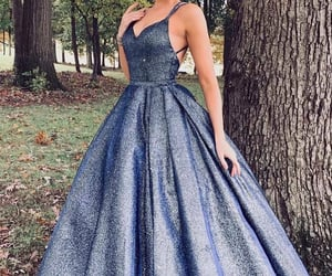 evening dress, girl, and sparkly prom dress image