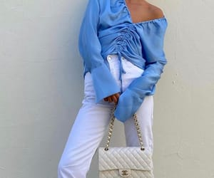 bags, clothes, and white jeans image