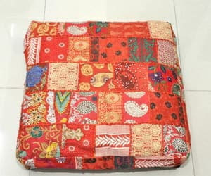 etsy, patchwork pouf, and patio bean bag image