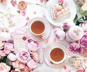 cake, roses, and tea image