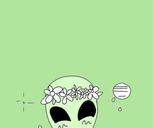 alien, flower crown, and asthetic image