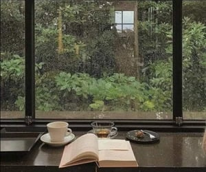 i want this 📖☕🌧🌿